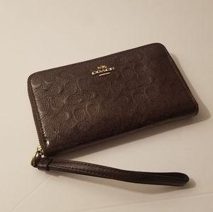 Coach Embossed Phone Wristlet/Wallet